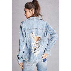 Forever 21 Distressed Studded Denim Jacket